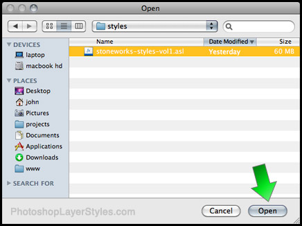 how to install photoshop layer styles
